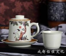 定做年终礼品茶具套装 春节送员工福利礼品  松鹤呈祥四件杯带茶漏