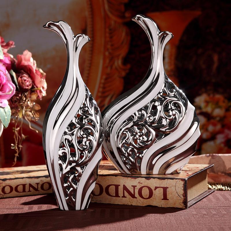 景德镇陶瓷器现代简约欧式摆件落地大花瓶客厅电视柜花瓶