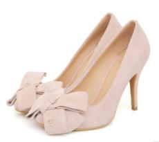 2014春韩版新款真皮气质蝴蝶结浅口单鞋女鞋 羊反皮套脚高跟皮鞋