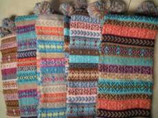 复古名族风 仿羊绒料提花带球围巾 双层彩色 围巾