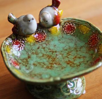 供应高温彩色陶瓷装饰摆件双鸟盆肥皂