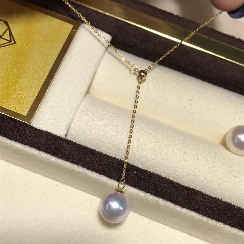 天女海水珍珠吊坠 强光红粉无瑕  直径8.5mm