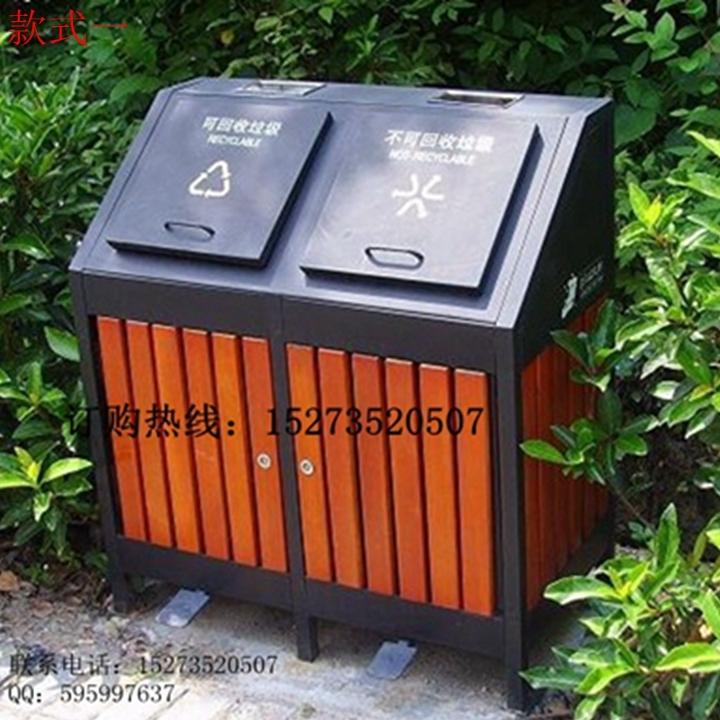 户外环保分类垃圾桶方贸f-3088钢木结构垃圾箱图片–