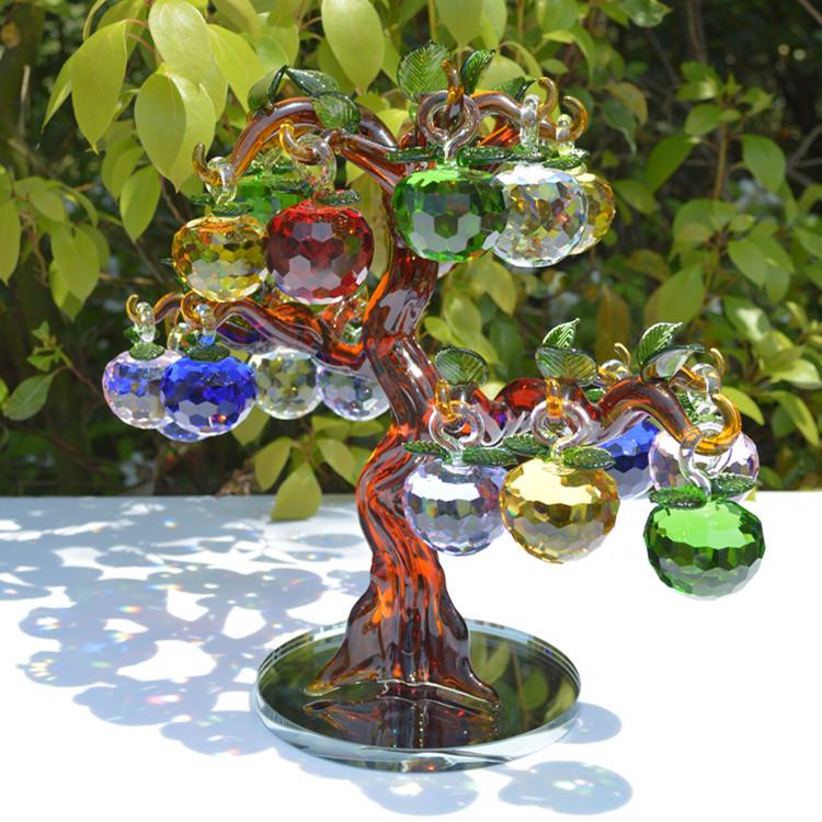 熊辉水晶工艺品礼品 水晶苹果树配件 水晶苹果批发 红色水晶紫苹果