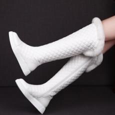 欧洲站小香女鞋菱格纹雪地靴侧拉链漆皮高筒靴真皮平底兔毛长靴子