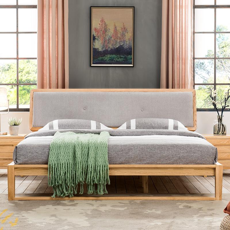 纯实木床卧室双人床北欧风橡木床