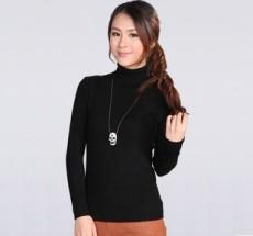 新款长袖套头韩版高领打底毛衣女式薄针织衫