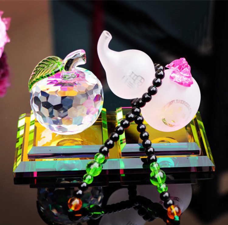 新款汽车香水摆件 水晶苹果葫芦汽车香水座 车载车内摆件 吉祥物平安福禄车载摆件 车内饰品礼品汽车摆件