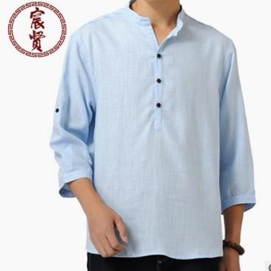 唐装民族风简约纯色休闲七分袖男短袖棉麻汉服改良文艺衬衫