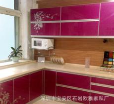 供应厂家直销高档整体厨柜,(石英石台面、大芯板柜体、碳光门板)