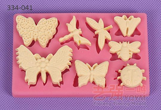 翻糖模具 玫瑰花天鹅装饰模具 金鱼翻糖蛋糕模具蝴蝶小动物烘焙硅胶