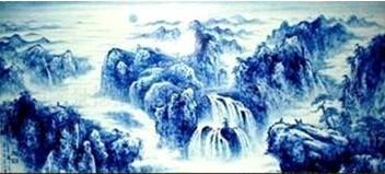 現代裝飾瓷板畫 青花山水瓷板畫 批發陶瓷瓷板畫