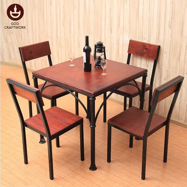 美式实木家具桌椅 古德家用客厅小户型桌椅 餐厅咖啡厅桌椅组合图片