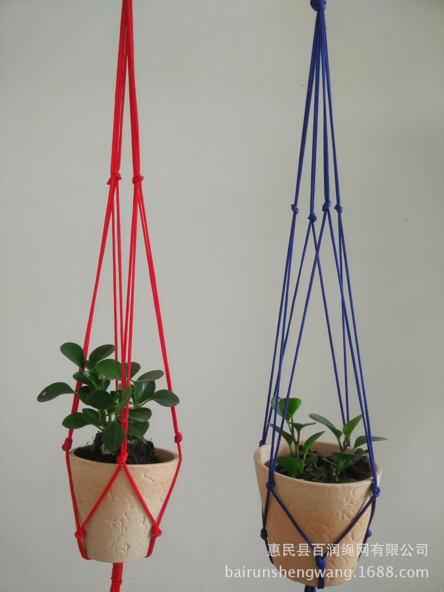 直销出口白色掉花盆网兜纯手工编织吊兰花盆植物工艺品吊兜
