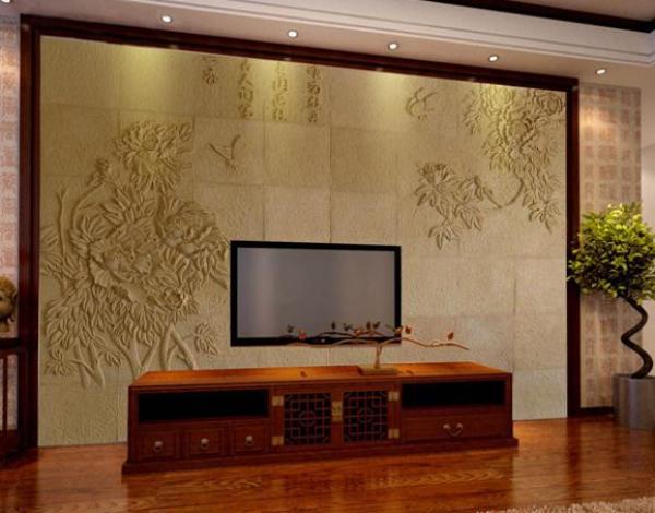 中式花开富贵电视背景墙