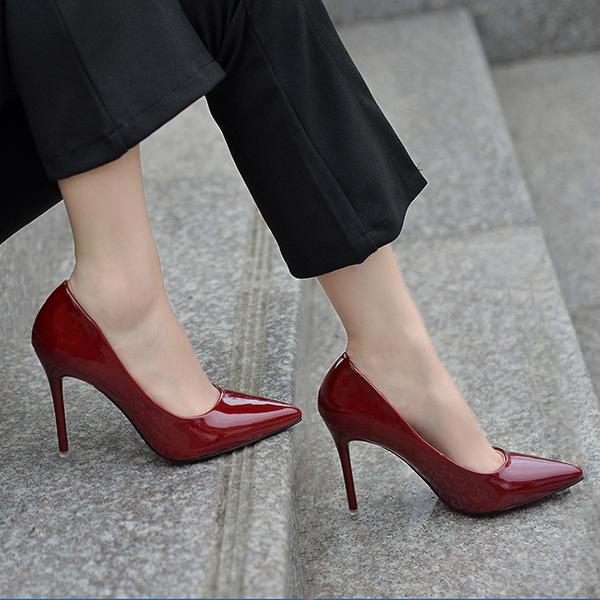 女鞋秋冬时尚新款2016 尖头漆皮浅口单鞋 职业性感高跟鞋细跟