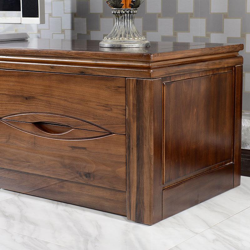 直觉 实木地柜 北美黑胡桃木家具 现代中式全实木电视柜2.2米图片