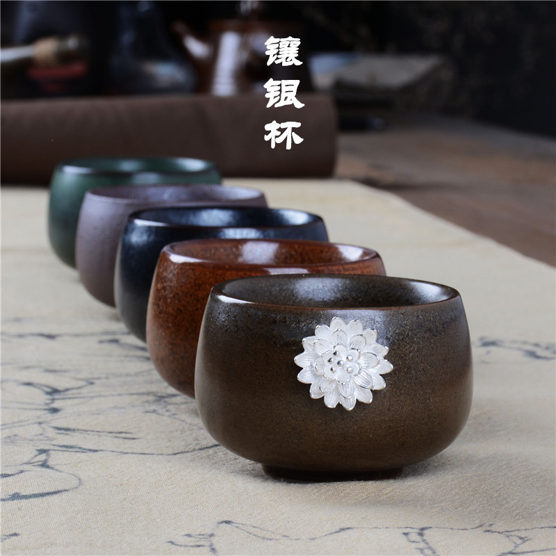 供应批发 粗陶 茶碗 功夫茶具 陶瓷茶杯 银鱼普洱茶建盏 品茗杯