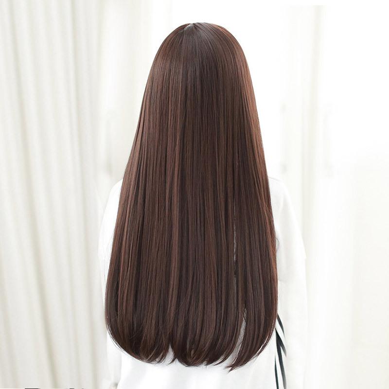 黛美丝薄刘海清新微扣长发假发时尚女士长直发空气刘海整顶假发套图片