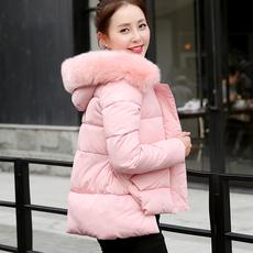 2016新款韩版短款不规则羽绒棉服外套女宽松大码毛领修身加厚棉衣