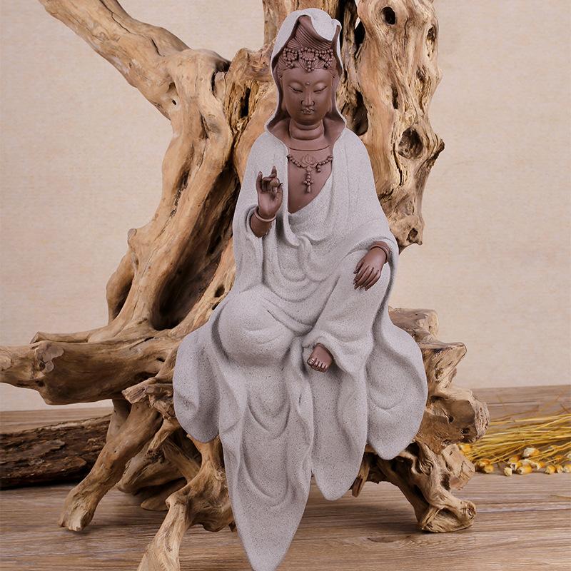德华直销紫砂陶菩萨佛像 精美工艺礼品摆件 家居宗教佛像风水摆件