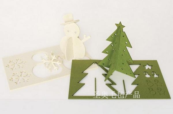 定做圣诞节毛毡装饰品 立体毛毡圣诞饰品 立体圣诞树小鹿雪人挂件