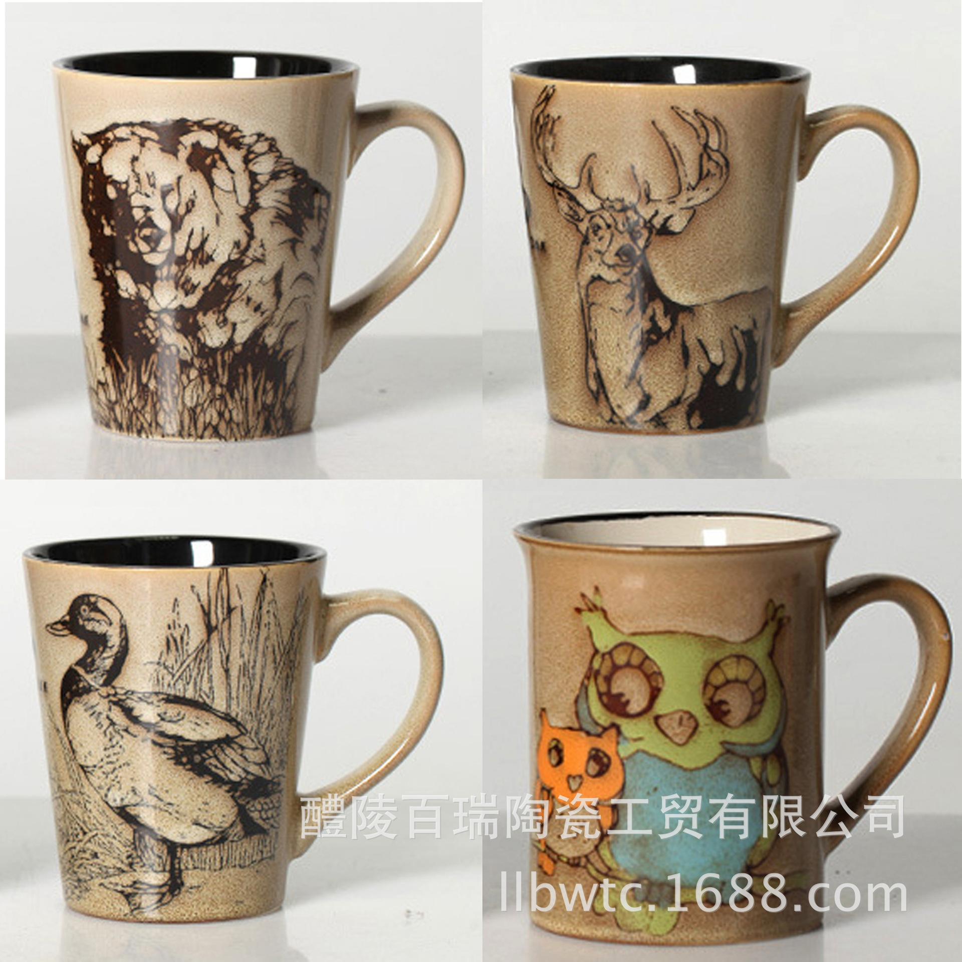 外贸尾单 高档库存陶瓷杯 创意出口浮雕动物手绘 牛奶咖啡马克杯
