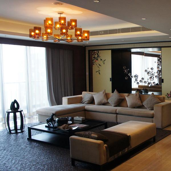 现代中式沙发组合新中式家具定制三人位布艺实木沙发工厂直销