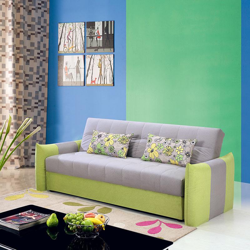 聆歌家具 简约布艺沙发 转角布艺沙发 小户型组合多功能沙发床图片