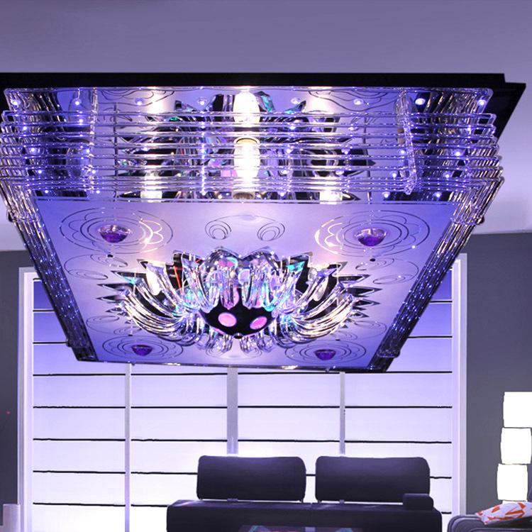 新式带MP3播放器水晶灯 水晶吊灯 欧式方形水晶吸顶灯 客厅吸顶灯