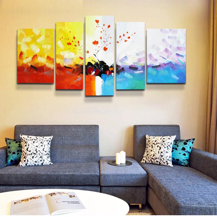 精品高档简约风抽象装饰画客厅沙发挂画床餐厅头画手绘油画五联画