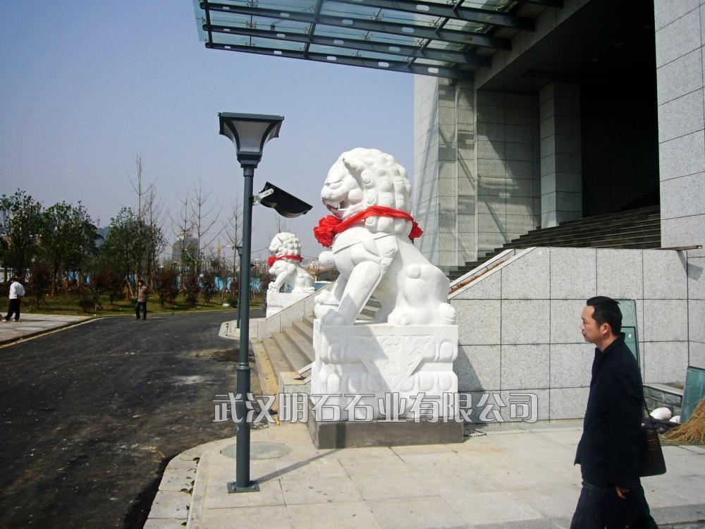 武汉汉白玉狮子/武汉石雕狮子厂家