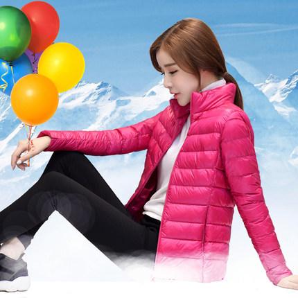 新款韩版秋冬装修身轻薄款显瘦轻便短款立领羽绒服女大码外套