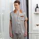 夏季2017新款男式短袖长裤真丝睡衣套装 100%桑蚕丝家居服两件 睡衣男