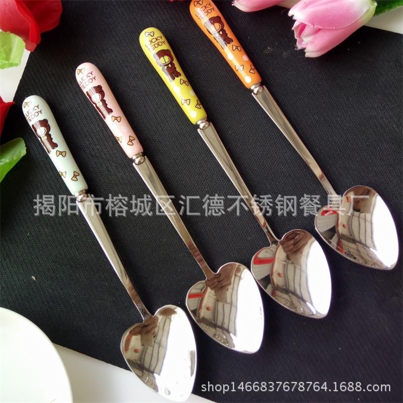 泰迪熊陶瓷色釉不锈钢餐具 创意不锈钢咖啡勺水果叉爱心勺图片