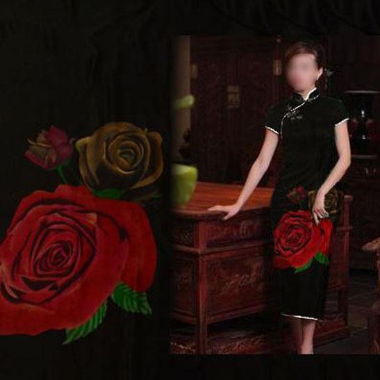 100%桑蚕丝布料重磅真丝香云纱面料老料 莨绸 缎面 红黄玫瑰 面料