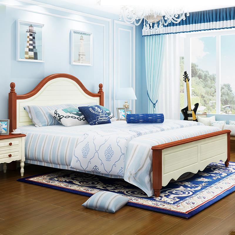 城市豪庭家具成套地中海风格床板木双人框架床高箱储物床