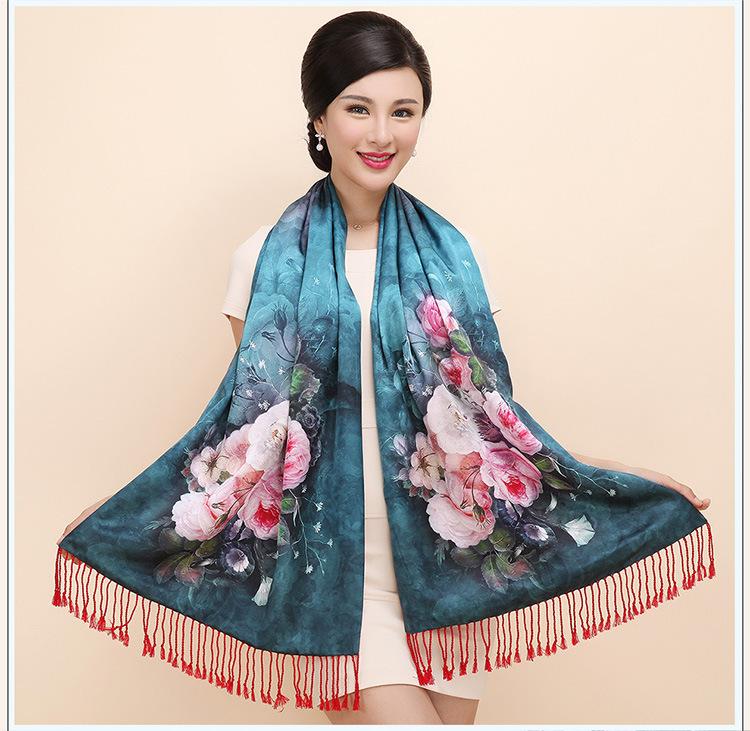 真丝围巾女双层丝巾秋冬季 长款双面真丝拉绒围巾桑蚕丝披肩两用