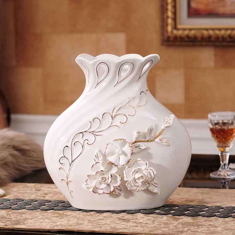 欧式花瓶花插现代简约陶瓷 客厅摆件装饰品 创意陶瓷工艺品 批发