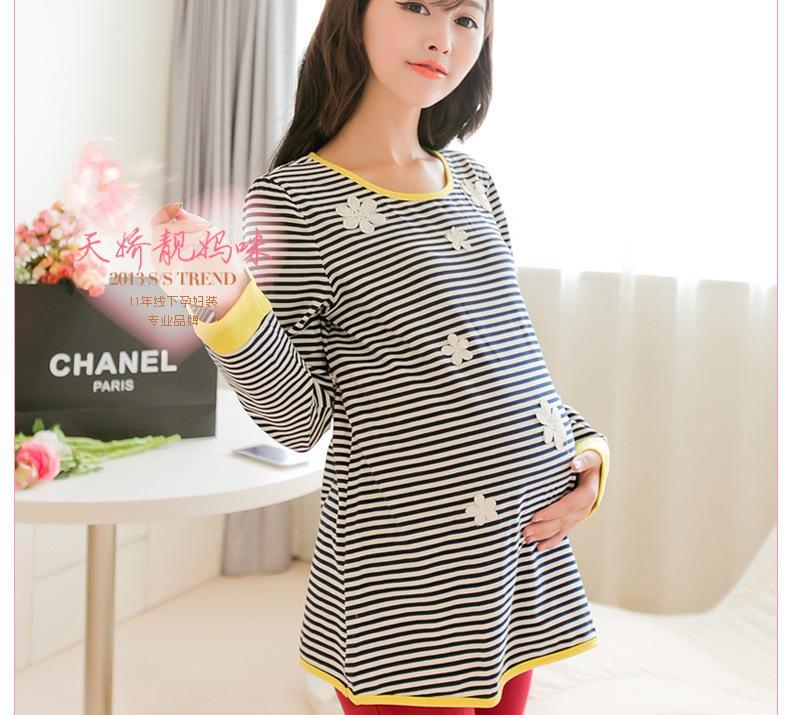 2013時尚孕婦裝秋裝長袖上衣 韓版寬松孕婦條紋t恤打底衫批發