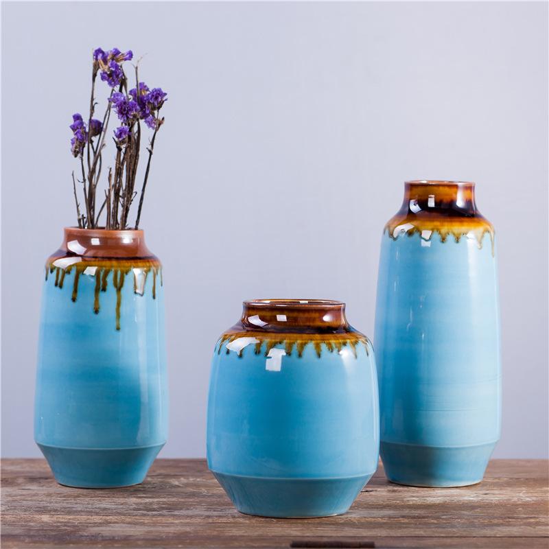 供应陶瓷花瓶套装 家居摆件 白羽毛陶艺三件套 创意工艺品 8244#
