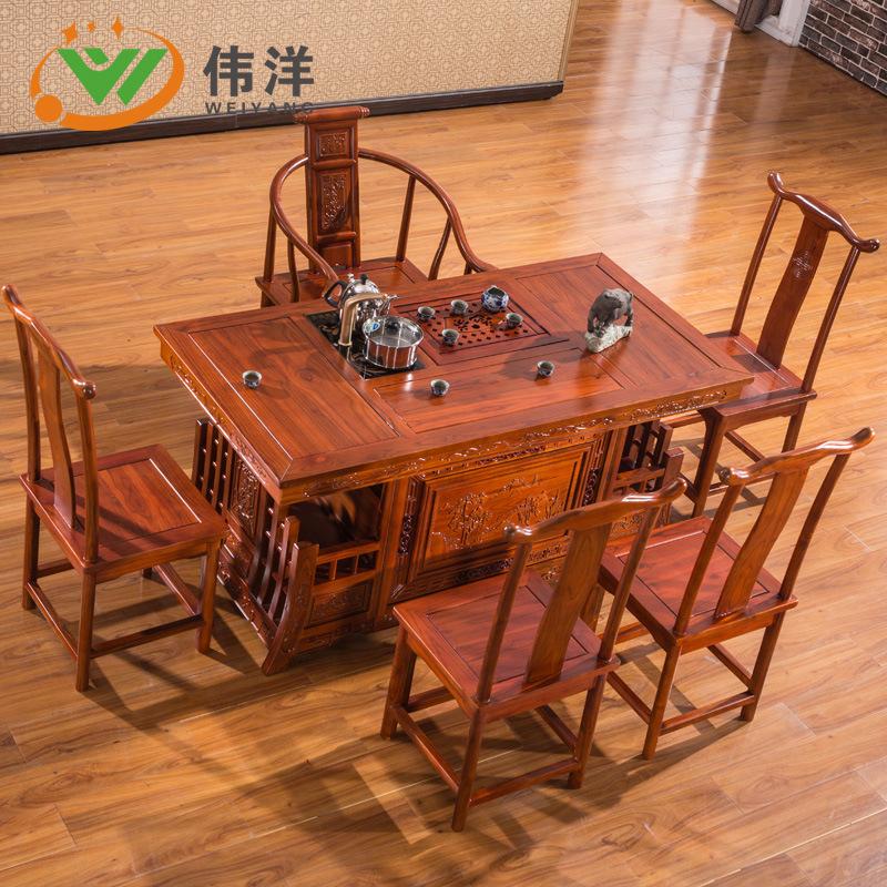 广东东莞实木茶桌中式榆木茶桌椅组合茶台仿古战国功夫茶几茶艺桌