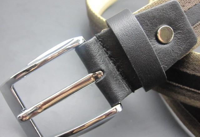 休闲牛皮配布腰带 针扣 头层牛皮皮带图片