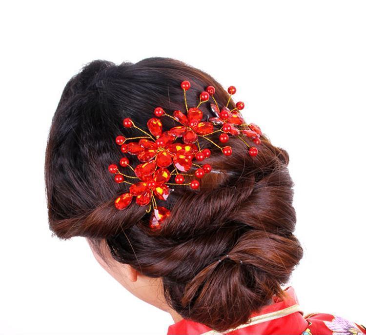 新娘头饰韩式配饰 红色旗袍发饰 复古装头花中式手工饰品 中式