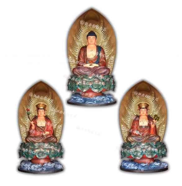西方三圣坐像木雕佛像