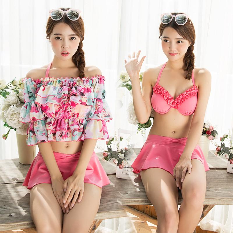 韩国新款美女比基尼三件套泳衣女碎花性感钢托聚拢罩衫游泳衣批发