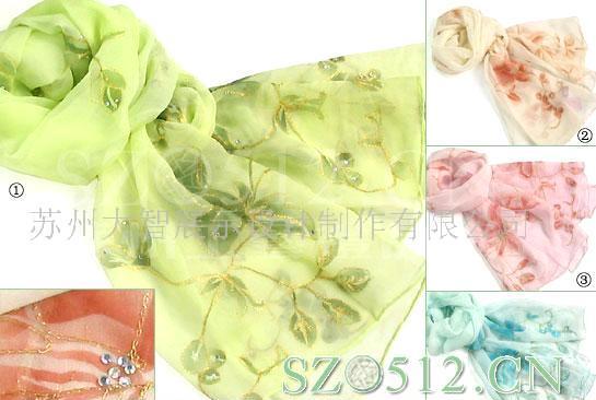 批发供应sc524真丝盘金绣花长巾,丝巾,围巾