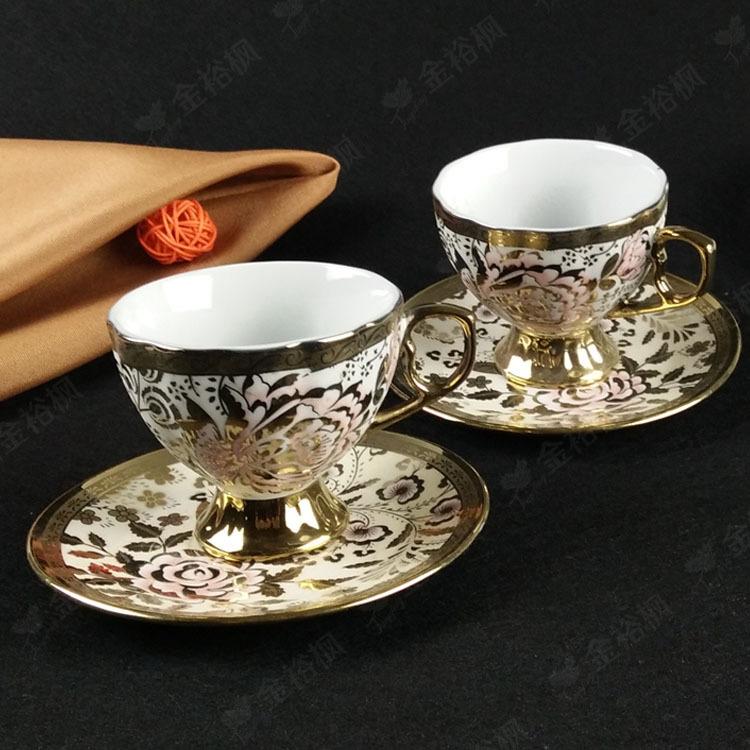 直销欧式描镀金陶瓷杯碟 电镀外贸复古咖啡杯套装广告促销礼品