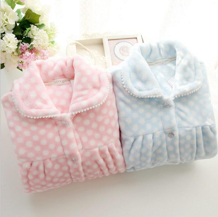 女式 法兰绒 家居服套装 保暖加厚 睡衣点点长袖 可爱0