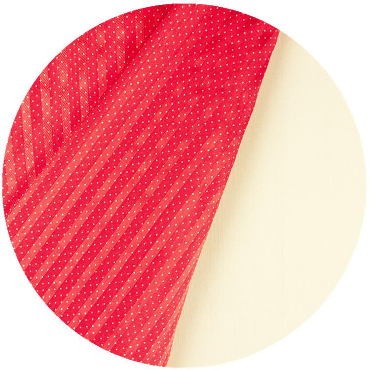 真丝缎条绡 9mm 红条纹波点 精品女装面料 杭州丝绸